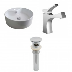 American Imaginations AI-15389 Round Vessel Set In White Color With Single Hole CUPC Faucet And Drain