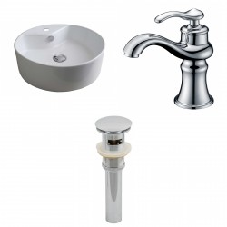 American Imaginations AI-15390 Round Vessel Set In White Color With Single Hole CUPC Faucet And Drain
