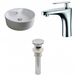 American Imaginations AI-15391 Round Vessel Set In White Color With Single Hole CUPC Faucet And Drain