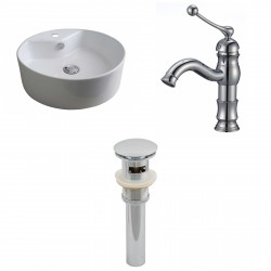 American Imaginations AI-15394 Round Vessel Set In White Color With Single Hole CUPC Faucet And Drain