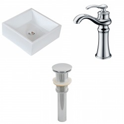 American Imaginations AI-15395 Square Vessel Set In White Color With Deck Mount CUPC Faucet And Drain