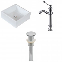 American Imaginations AI-15396 Square Vessel Set In White Color With Deck Mount CUPC Faucet And Drain