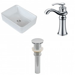 American Imaginations AI-15397 Rectangle Vessel Set In White Color With Deck Mount CUPC Faucet And Drain