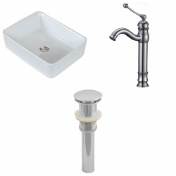 American Imaginations AI-15398 Rectangle Vessel Set In White Color With Deck Mount CUPC Faucet And Drain