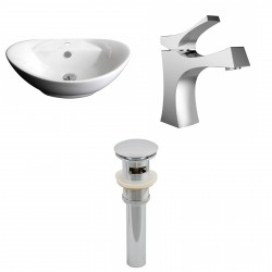 American Imaginations AI-15399 Oval Vessel Set In White Color With Single Hole CUPC Faucet And Drain