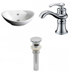 American Imaginations AI-15400 Oval Vessel Set In White Color With Single Hole CUPC Faucet And Drain
