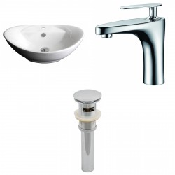 American Imaginations AI-15401 Oval Vessel Set In White Color With Single Hole CUPC Faucet And Drain