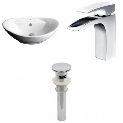 American Imaginations AI-15403 Oval Vessel Set In White Color With Single Hole CUPC Faucet And Drain