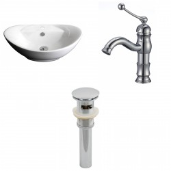 American Imaginations AI-15404 Oval Vessel Set In White Color With Single Hole CUPC Faucet And Drain