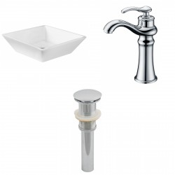 American Imaginations AI-15411 Square Vessel Set In White Color With Deck Mount CUPC Faucet And Drain