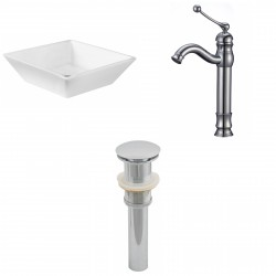 American Imaginations AI-15412 Square Vessel Set In White Color With Deck Mount CUPC Faucet And Drain