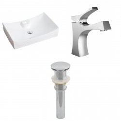 American Imaginations AI-15413 Rectangle Vessel Set In White Color With Single Hole CUPC Faucet And Drain