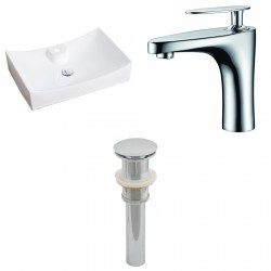 American Imaginations AI-15415 Rectangle Vessel Set In White Color With Single Hole CUPC Faucet And Drain