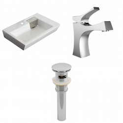 American Imaginations AI-15419 Rectangle Vessel Set In White Color With Single Hole CUPC Faucet And Drain