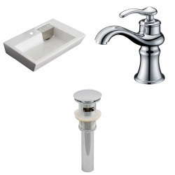 American Imaginations AI-15420 Rectangle Vessel Set In White Color With Single Hole CUPC Faucet And Drain