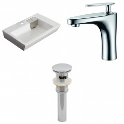 American Imaginations AI-15421 Rectangle Vessel Set In White Color With Single Hole CUPC Faucet And Drain