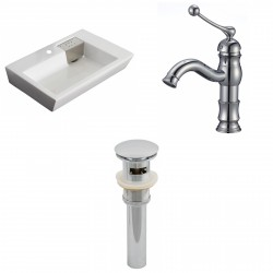 American Imaginations AI-15424 Rectangle Vessel Set In White Color With Single Hole CUPC Faucet And Drain