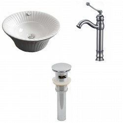 American Imaginations AI-15426 Round Vessel Set In White Color With Deck Mount CUPC Faucet And Drain