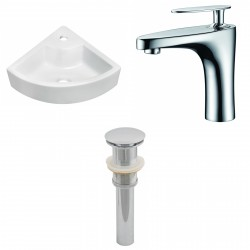 American Imaginations AI-15429 Unique Vessel Set In White Color With Single Hole CUPC Faucet And Drain