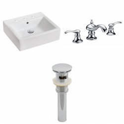 American Imaginations AI-15447 Rectangle Vessel Set In White Color With 8-in. o.c. CUPC Faucet And Drain