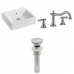 American Imaginations AI-15451 Rectangle Vessel Set In White Color With 8-in. o.c. CUPC Faucet And Drain