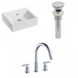 American Imaginations AI-15452 Rectangle Vessel Set In White Color With 8-in. o.c. CUPC Faucet And Drain