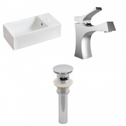 American Imaginations AI-15459 Rectangle Vessel Set In White Color With Single Hole CUPC Faucet And Drain