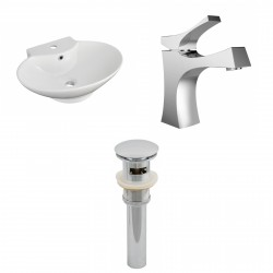 American Imaginations AI-15465 Oval Vessel Set In White Color With Single Hole CUPC Faucet And Drain