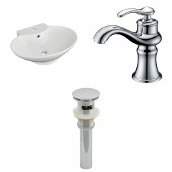 American Imaginations AI-15466 Oval Vessel Set In White Color With Single Hole CUPC Faucet And Drain