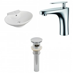 American Imaginations AI-15467 Oval Vessel Set In White Color With Single Hole CUPC Faucet And Drain
