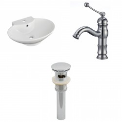 American Imaginations AI-15470 Oval Vessel Set In White Color With Single Hole CUPC Faucet And Drain