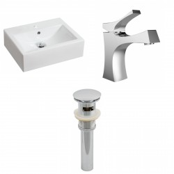 American Imaginations AI-15599 Rectangle Vessel Set In White Color With Single Hole CUPC Faucet And Drain
