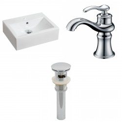 American Imaginations AI-15600 Rectangle Vessel Set In White Color With Single Hole CUPC Faucet And Drain