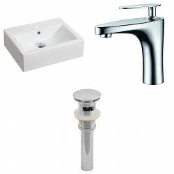 American Imaginations AI-15601 Rectangle Vessel Set In White Color With Single Hole CUPC Faucet And Drain