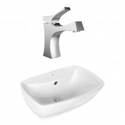 American Imaginations AI-17723 Rectangle Vessel Set In White Color With Single Hole CUPC Faucet