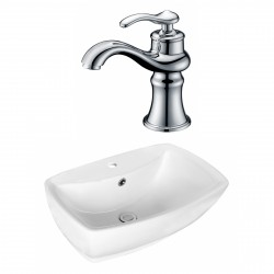 American Imaginations AI-17724 Rectangle Vessel Set In White Color With Single Hole CUPC Faucet