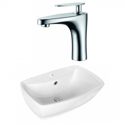 American Imaginations AI-17725 Rectangle Vessel Set In White Color With Single Hole CUPC Faucet
