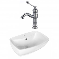 American Imaginations AI-17729 Rectangle Vessel Set In White Color With Single Hole CUPC Faucet