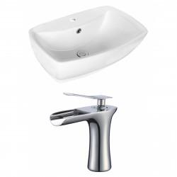 American Imaginations AI-17730 Rectangle Vessel Set In White Color With Single Hole CUPC Faucet