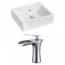 American Imaginations AI-17805 Rectangle Vessel Set In White Color With Single Hole CUPC Faucet