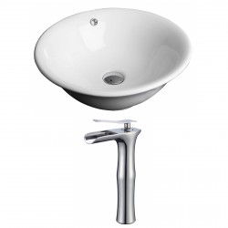 American Imaginations AI-17807 Round Vessel Set In White Color With Deck Mount CUPC Faucet