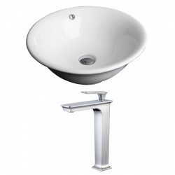 American Imaginations AI-17808 Round Vessel Set In White Color With Deck Mount CUPC Faucet