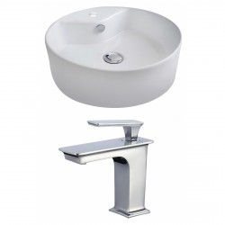 American Imaginations AI-17812 Round Vessel Set In White Color With Single Hole CUPC Faucet