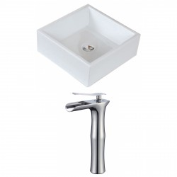 American Imaginations AI-17813 Square Vessel Set In White Color With Deck Mount CUPC Faucet