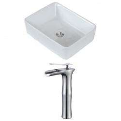 American Imaginations AI-17815 Rectangle Vessel Set In White Color With Deck Mount CUPC Faucet