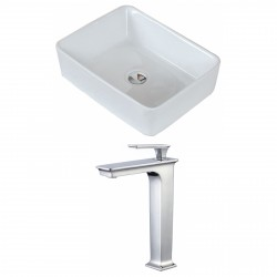 American Imaginations AI-17816 Rectangle Vessel Set In White Color With Deck Mount CUPC Faucet