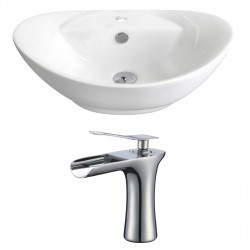 American Imaginations AI-17817 Oval Vessel Set In White Color With Single Hole CUPC Faucet