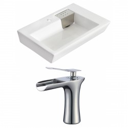 American Imaginations AI-17823 Rectangle Vessel Set In White Color With Single Hole CUPC Faucet
