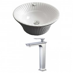 American Imaginations AI-17826 Round Vessel Set In White Color With Deck Mount CUPC Faucet