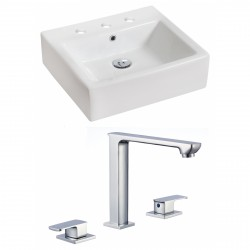 American Imaginations AI-17830 Rectangle Vessel Set In White Color With 8-in. o.c. CUPC Faucet